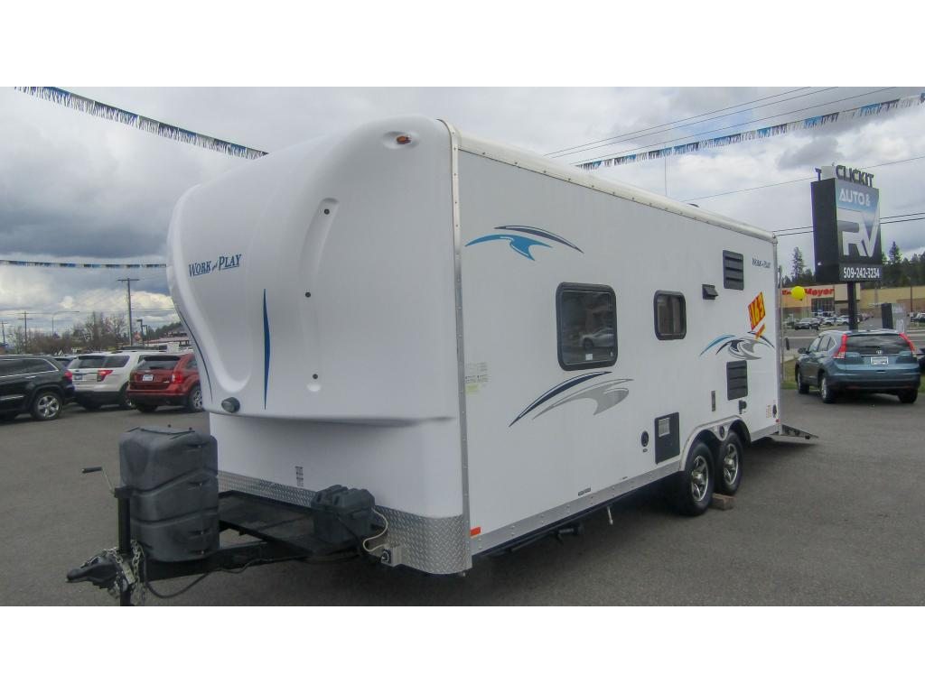 Pre-Owned 2015 FOREST RIVER WORK AND PLAY 18EC Sleeps 4 Toy Hauler Trailer